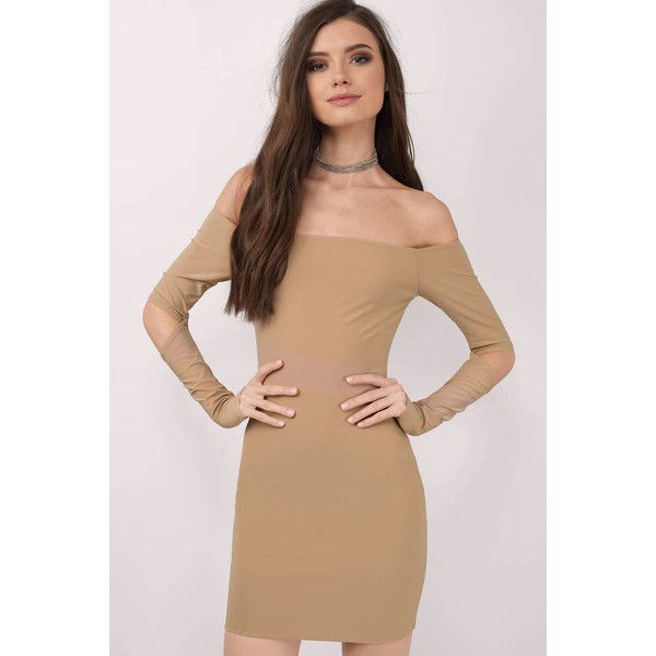 Tobi Kylie Cut Out Strapless Bodycon Dress (3,300 PHP) ❤ liked on Polyvore featuring dresses, nude, bodycon dress, beige cocktail dress, strapless bodycon dress, body con dress and cut out body con dress