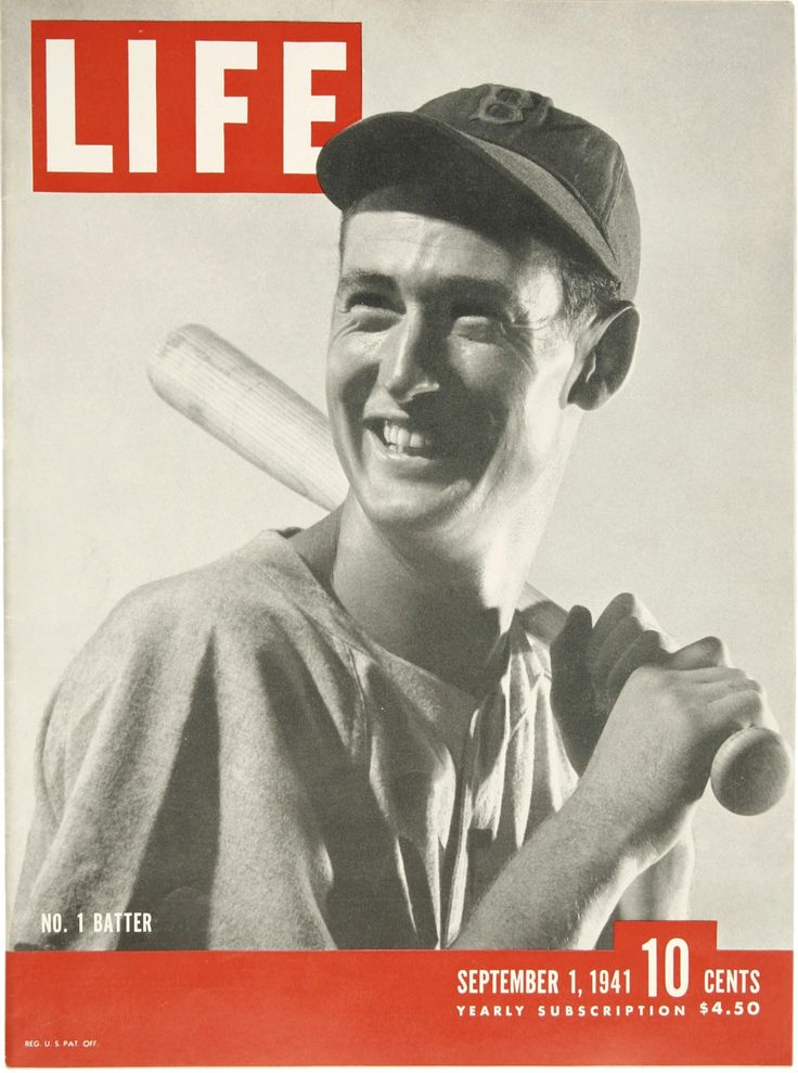Teddy Ballgame graces the cover of the September 1st, 1941 issue of Life Magazine. Two things cross my mind while looking at this: 1) I want this issue & 2) I wish I was around in 1941 to witness the amazing hitting feats accomplished by both Williams and DiMaggio.