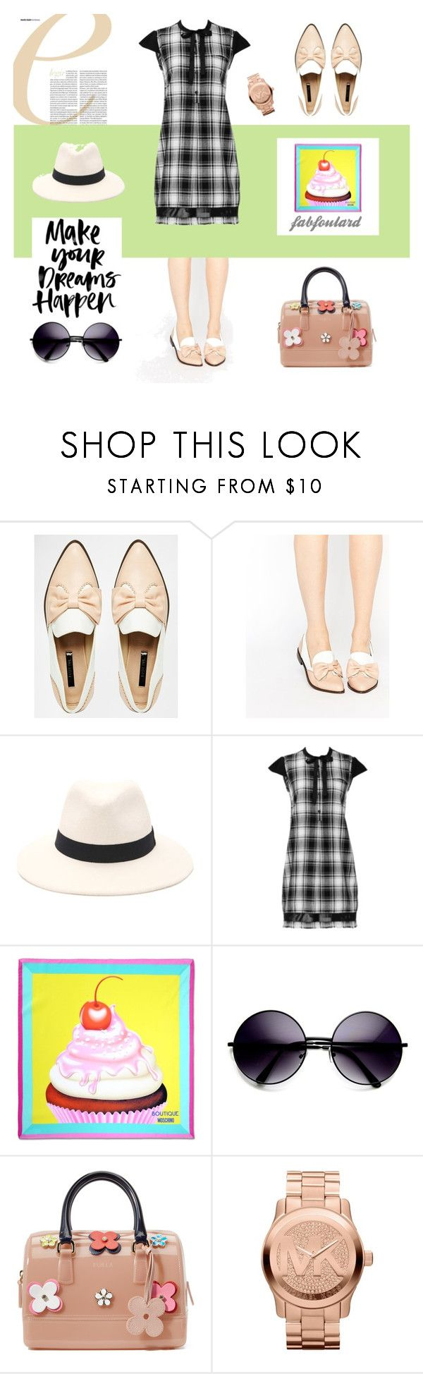 """""""Walking on the golf grass"""" by pinfi on Polyvore featuring Lost Ink, Forever 21, Boutique Moschino, ZeroUV, Furla and Michael Kors #trend #fashion #oxford #pink"""