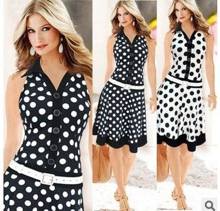 2015 New Women's Europe and America Fashion Casual Sexy  Sleeveless Polka Dots Dress Dresses Clother Hight Quality