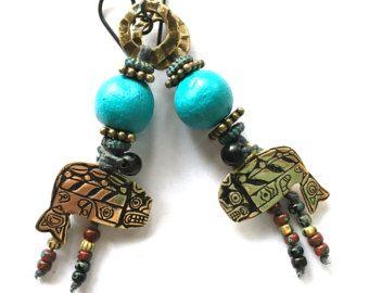 Tribal etnische sieraden, lichtgewicht oorbellen, handgemaakte ambachtelijke sieraden, bijzondere oorbellen, ambachtelijke oorbellen, SheFliesAgain, Boho oorbellen