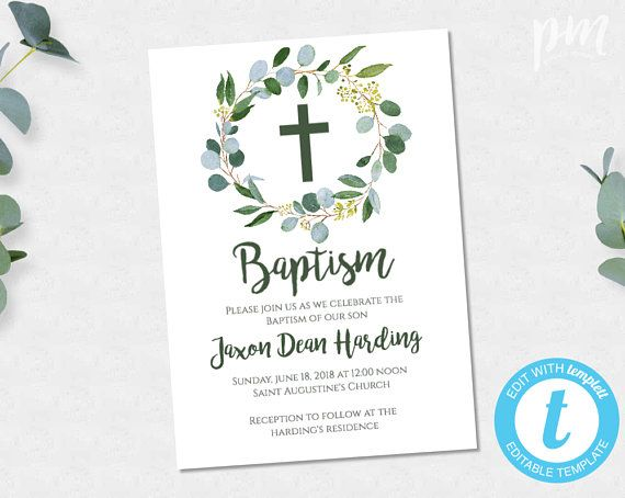 Greenery Baptism Invitation Boy Printable Template Christening Invite Instant Download