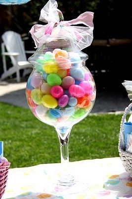 Cute idea for older kids! Jelly beans/candy in a wine glass or mug,  wrapped in tulle w/ ribbon