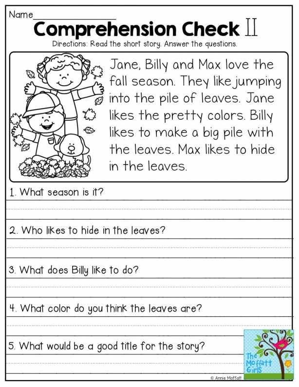 Image result for grade 1 english comprehension worksheets ...