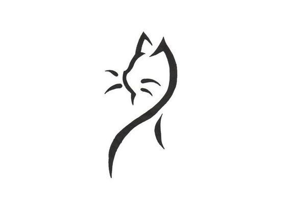Katzen Tattoo Vorlage – Minimalist Black Lines – #Minimalistic …   – Minimalistisches Tattoo
