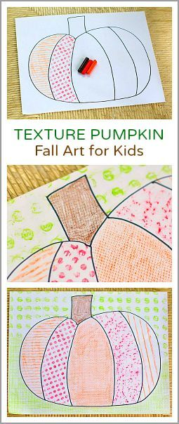 Super easy art project for fall and Halloween! (Textured Pumpkin: Fall Art Project for Kids~ BuggyandBuddy.com)