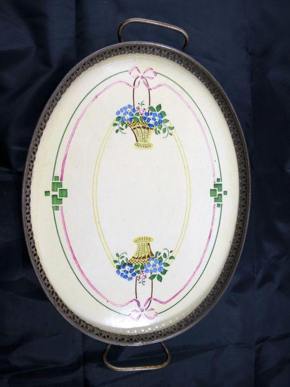 Vanity Porcelain Tray Art Nouveau Floral by BonniesVintageAttic