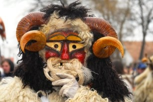 Traditional wooden mask at Buso Festival in Mohács, Hungary