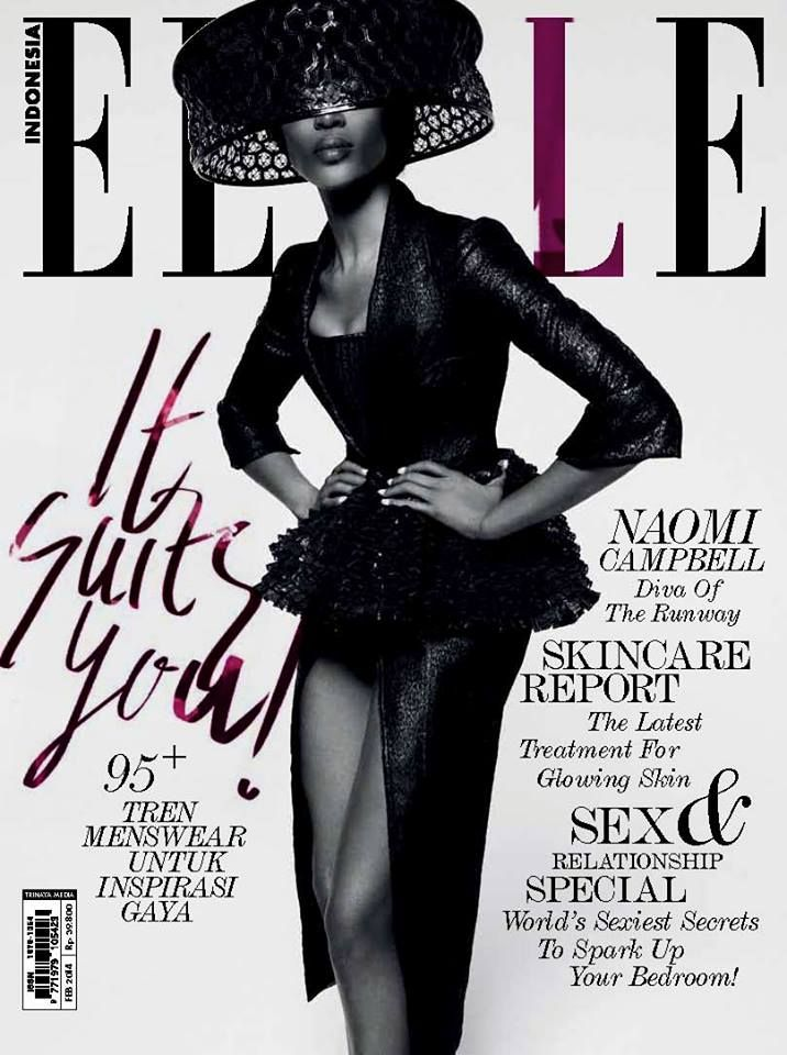 Naomi Campbell - Elle Magazine Cover [Indonesia] (February 2014)