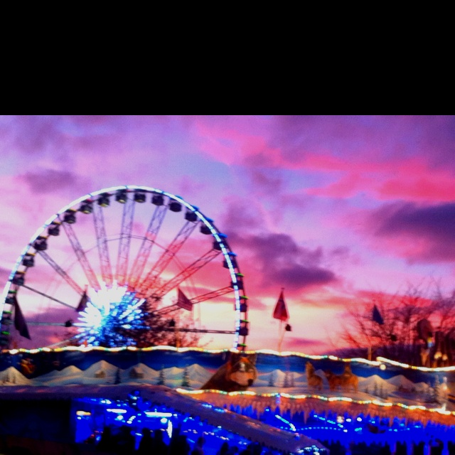Sunset at winter wonderland Hyde Park London