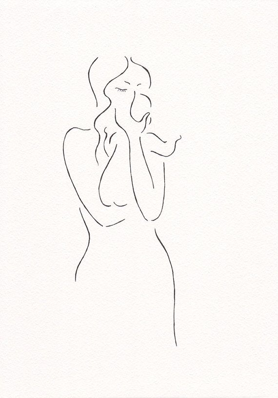 Original sketch. Minimalist drawing of a mother with by siret