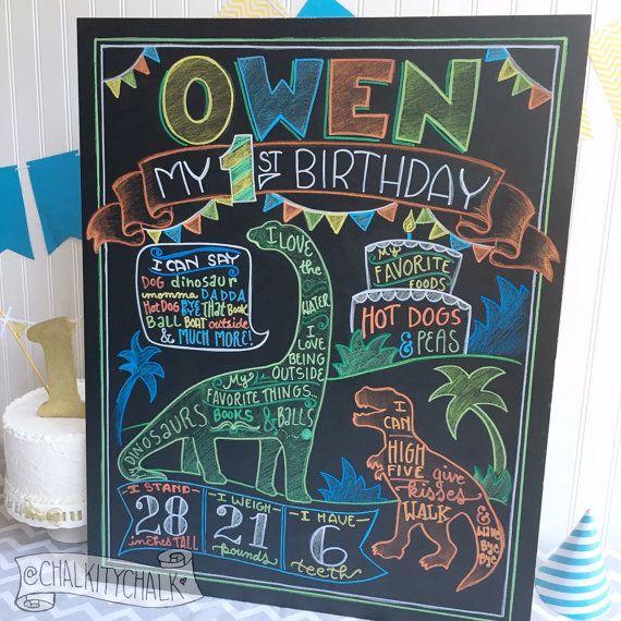 Dinosaur Birthday Chalkboard Sign first birthday by ChalkityChalk