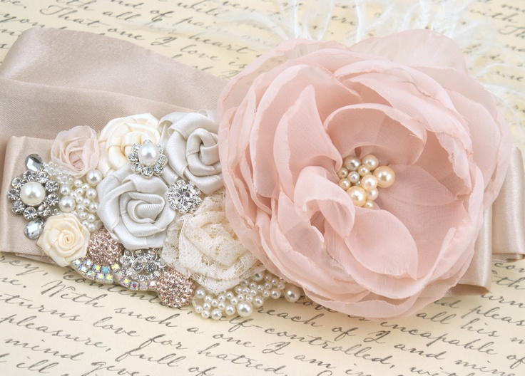 Bridal Sash - Sash in Blush Pink, Ivory, Champagne and Cream with Crystal Jewels, Ostrich Feathers and Handmade Flowers- Breath of Blush. $230.00, via Etsy.