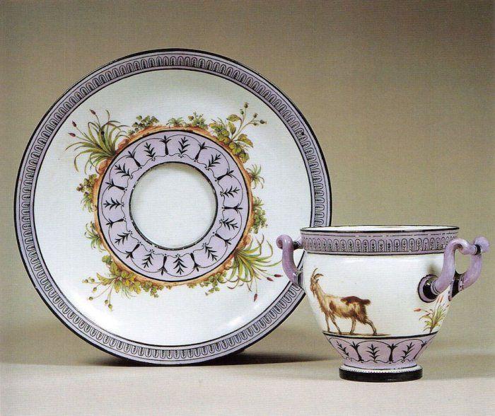 Manufacture de Sèvres, 1787-1788 Service de la laiterie de Rambouillet Gobelet et sa soucoupe Porcelaine