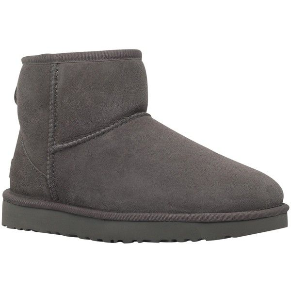 UGG Classic II Mini Ankle Boots , Grey ($165) ❤ liked on Polyvore featuring shoes, boots, ankle booties, grey, ugg® bootie, flat booties, flat boots, low ankle boots and grey booties