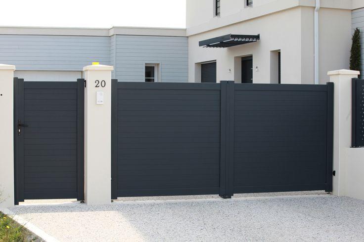 Portail aluminium Modèle plein Frégate #Menuiserie #Portailalu #Portail #aluminium #Entree #Jardin #Battant #Plein #Exterieur #Maison #Rdproductions