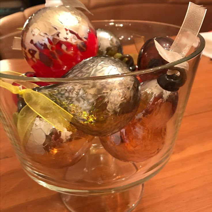Ted Jolda's hand blown glass ornaments in a trifle bowl