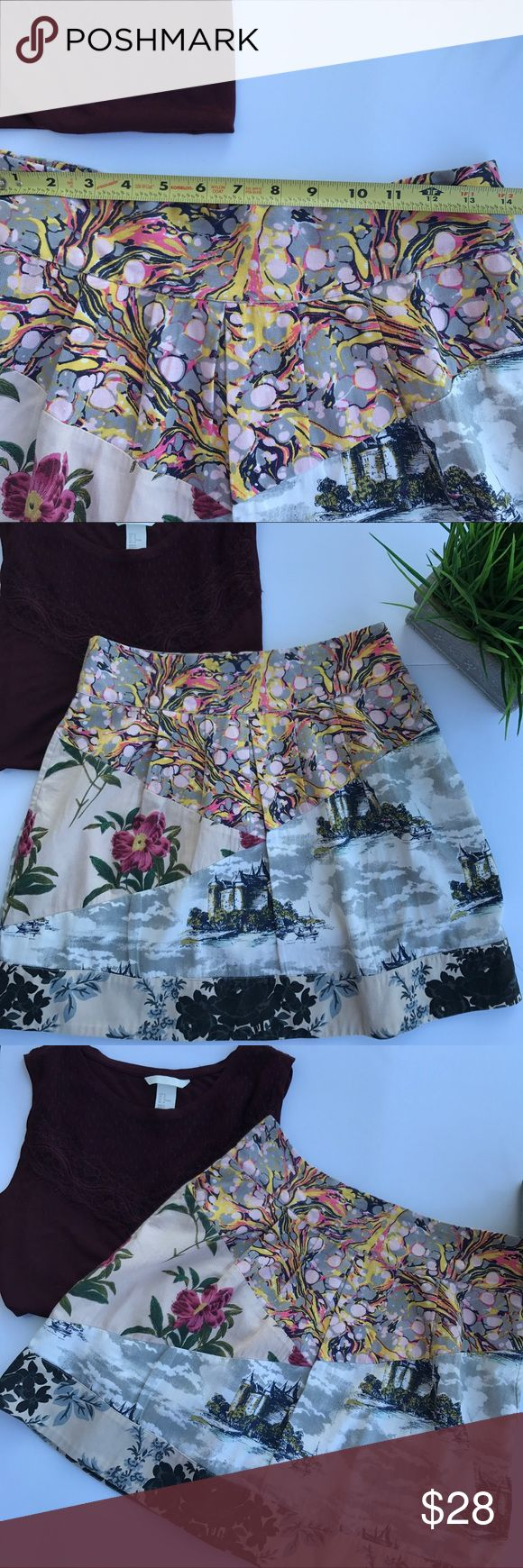 Anthropologie Leifnote Floral Skirt Beautiful patch pattern Anthropologie Leifnote Floral Castle scenic Skirt. Perfect for Spring. This skirt feature side pockets and a back zipper.  Material: Cotton and Acetate lining Anthropologie Skirts Midi