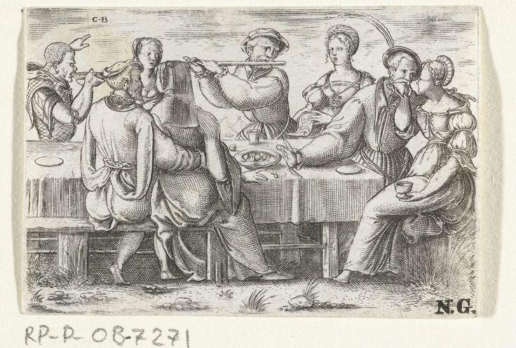 Cornelis Bos | Gasten en bruidspaar aan tafel, Cornelis Bos, c. 1537 - c. 1555 | Bruid en bruidegom en bruiloftsgasten aan een gedekte tafel. Er wordt muziek gemaakt door een fluitist en een zangeres.