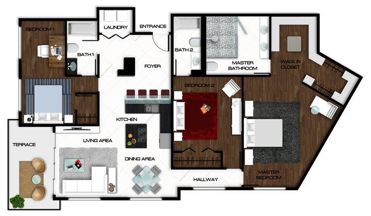 Autocad Floor Plan Rendered In Photoshop Rendered Floor