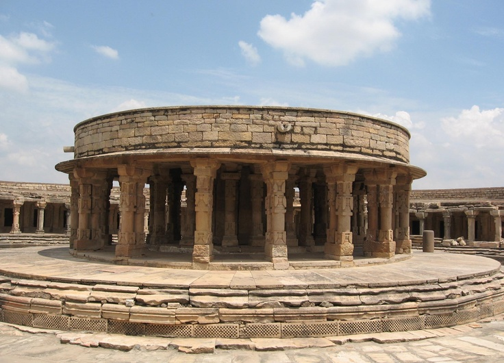 The picture depicts a temple in the village of Mitaoli, Morena district, Madhya Pradesh, central India. According to some historians, the design of the Indian Parliament is based on this structure.