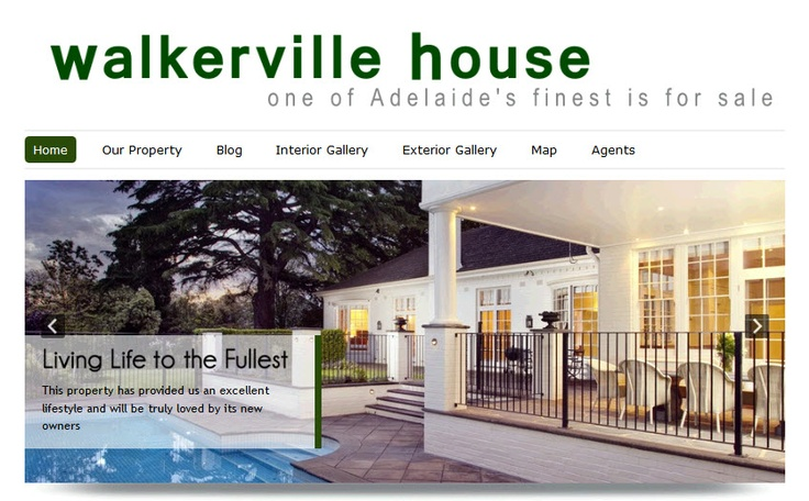 Homepage of the Walkerville House website now selling in Adelaide  www.walkervilleHouse.com.au