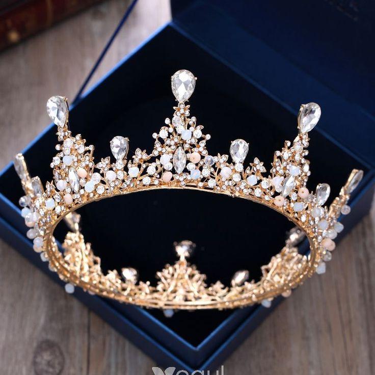 Luxus / Herrlich Gold Metall Hochzeit Brautaccessoires 2018 Kristall Strass Diadem