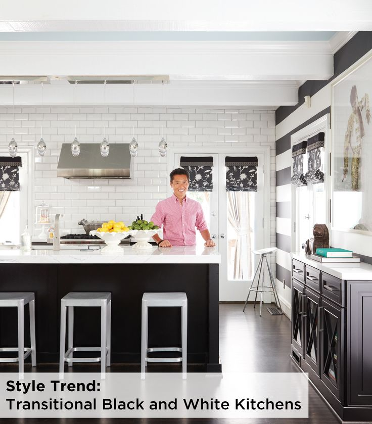 While black and white are at play in this space from interior designer Vern Yip, the Clio Omega cabinets featured in a black opaque finish deepen the trendy transitional look of this kitchen. Read more in this feature from The Washington Post: http://wapo.st/2nbATvq (photo by Vern Yip)