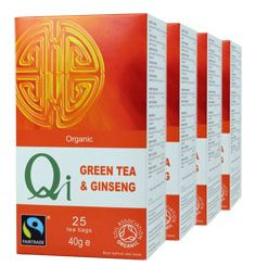 Qi Organic Fairtrade Green Tea & Ginseng (1 Month)                                                                          Panax Ginseng is known in the East for its natural energising benefits and with its added cinnamon bark, cloves and hibiscus this tea has a naturally spicing twang.   ONE MONTH SUPPLY  (4 packs/100 bags) £11.04