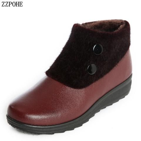 cf786a82e ZZPOHE 2018 Winter Boots Woman Leather Warm Ankle Boots Women Fashion  Waterproof Cotton shoes Ladies Snow Boots plus size 41