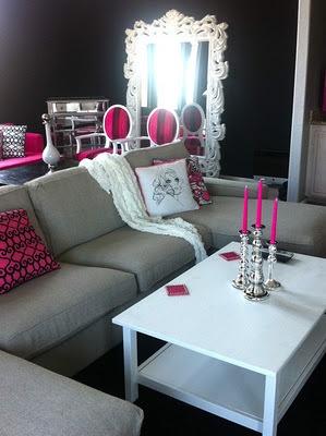 interior design, home decor, living rooms, pink: Decor, Interior, Idea, Living Rooms, Livingroom, Dream House, Pink, Black Wall, Design