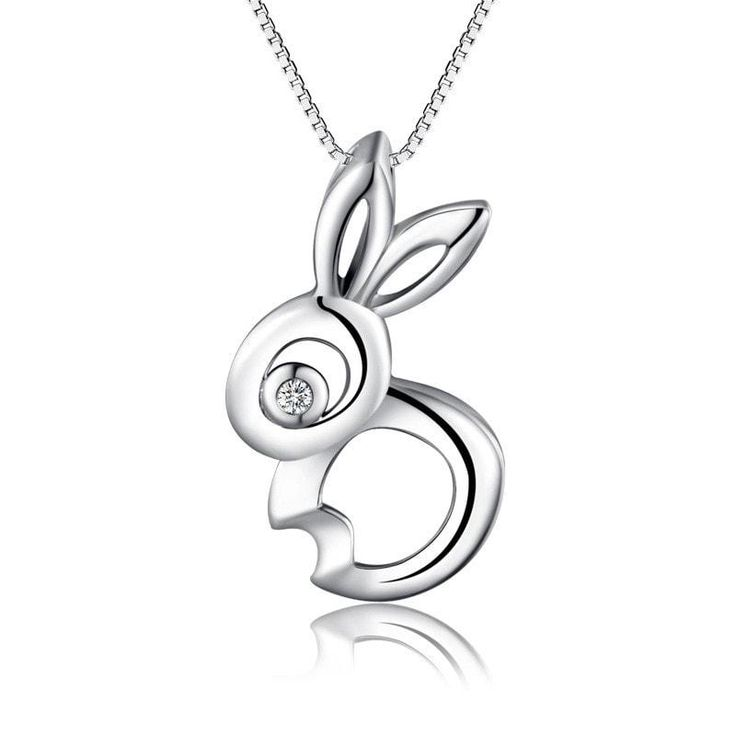 Necklaces A gorgeous piece featuring a beautiful clear stoned Bunny rabbit styled in sterling silver . Designed in fine sterling silver. with free delivery
