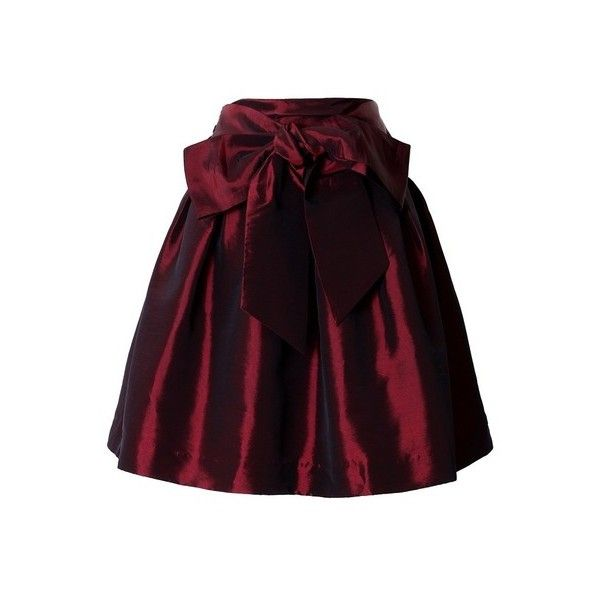Bowknot Wine Red Full A-line Skirt ❤ liked on Polyvore featuring skirts, purple a line skirt, red skirt, red a line skirt, purple skirt and red knee length skirt