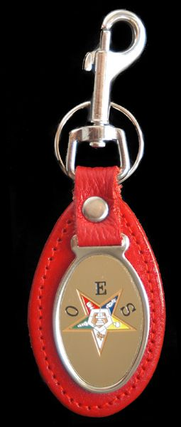 Order of the Eastern Star OES Leather Key Chain - Brothers and Sisters' Greek Store