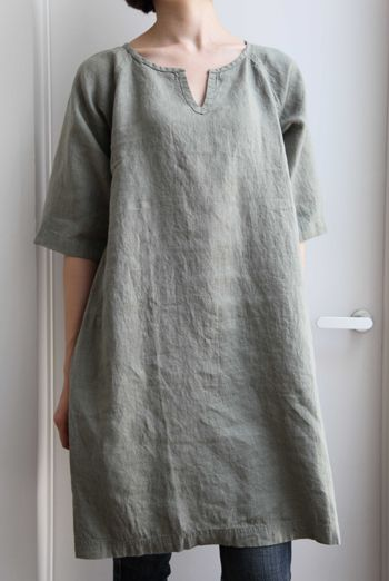 top on front of gray linen dress like long denim one?