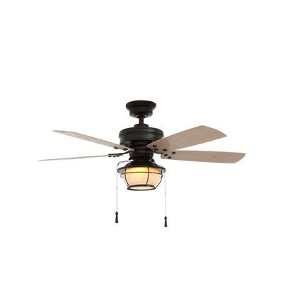 Hampton Bay North Shoreline 46 in. Natural Iron Indoor/Outdoor Ceiling Fan with Light Kit 51546 at The Home Depot - Mobile