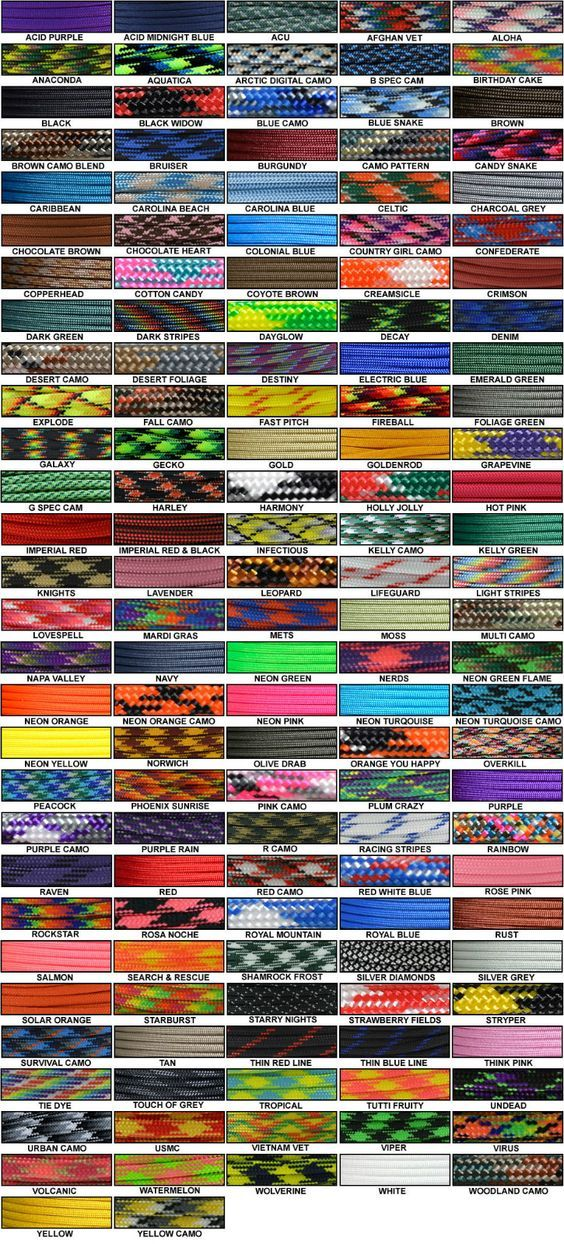 Paracord Color Chart - inexpensive source at gorillaparacord.com: