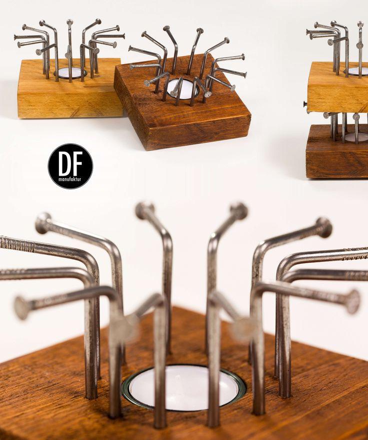 Wir machen Nägel mit Köpfen- und daraus etwas ganz besonderes. Entdecke unser Stövchen clavo auf www.dfmanufaktur.de #industrialdesign #holzdesign #decor