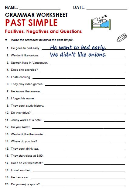 Free printable PDF grammar worksheets, quizzes and games, from A to Z, for EFL/ESL teachers. PAST SIMPLE