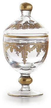 Baroque Gold Small Canister - transitional - Bath And Spa Accessories - Bliss Home & Design