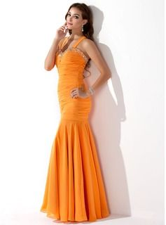 Mermaid Halter Floor-Length Chiffon Evening Dress With Ruffle Beading Sequins (017005814) - JJsHouse