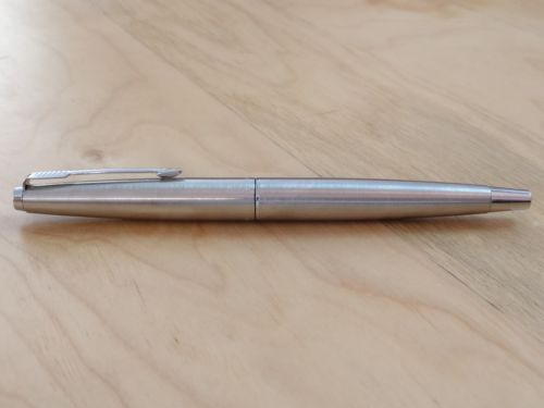 Parker-45-Flighter-1970s-Stainless-Steel-CT-England-Vintage-Fountain-Pen