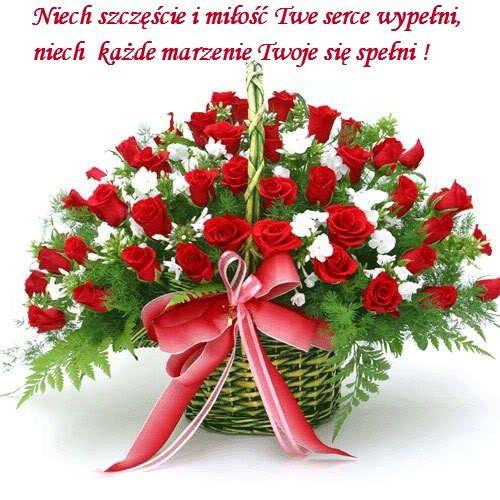 Kartka pod tytułem kosz kwiatów wysyłam i słów kilka miłych...