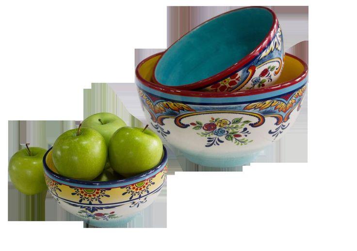 Zanzibar 3 Piece Mixing Bowls by EuroCeramica #EuroCeramica