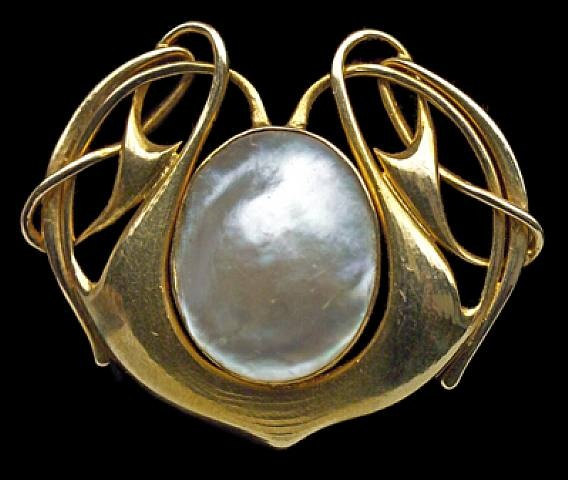 Liberty & Co gold and pearl brooch, Archibald Knox, ca. 1900