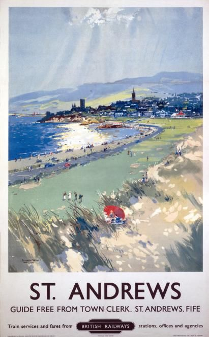 St Andrews, Scotland. Golfing. Vintage Scottish Golf Travel Poster Print