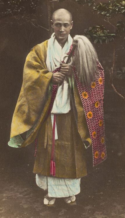 Hand-colored photo of a Buddhist priest.  1880's, Japan.  Photographer unknown