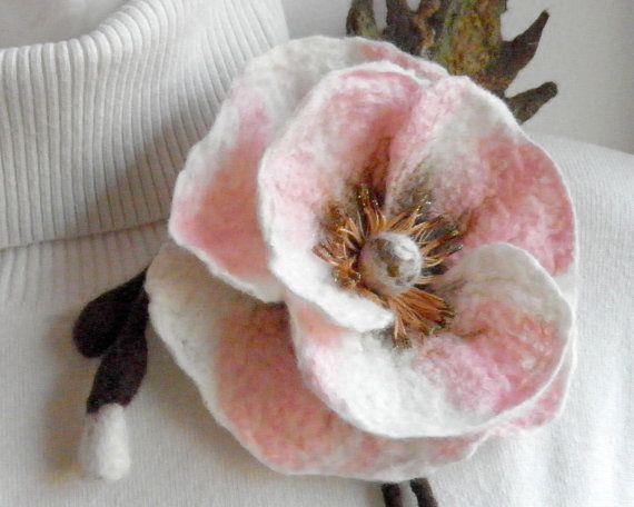 #Felted #flower #brooch. Pastel #pink #poppy pin. by Crafts2Love, $25.00 #pinkpoppy #feltflower #feltedflower
