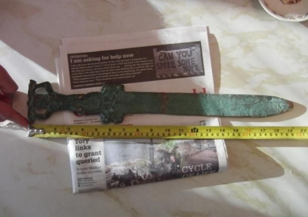 The Roman ceremonial sword found just off Oak Island, on what is believed to be a Roman ship that sank.