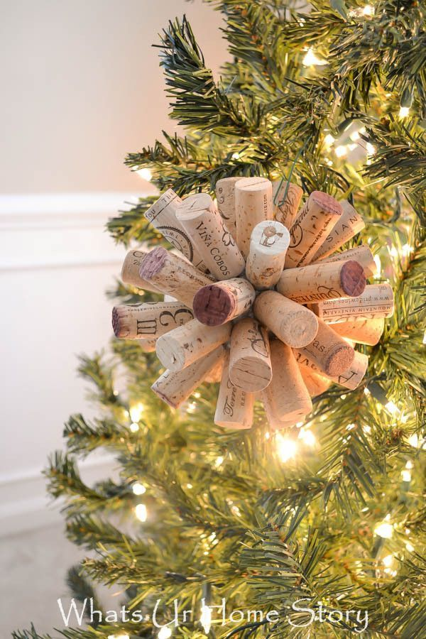 DIY cork ball ornament - You could use it as an ornament now and after the holidays display it on your coffee table or book shelves!
